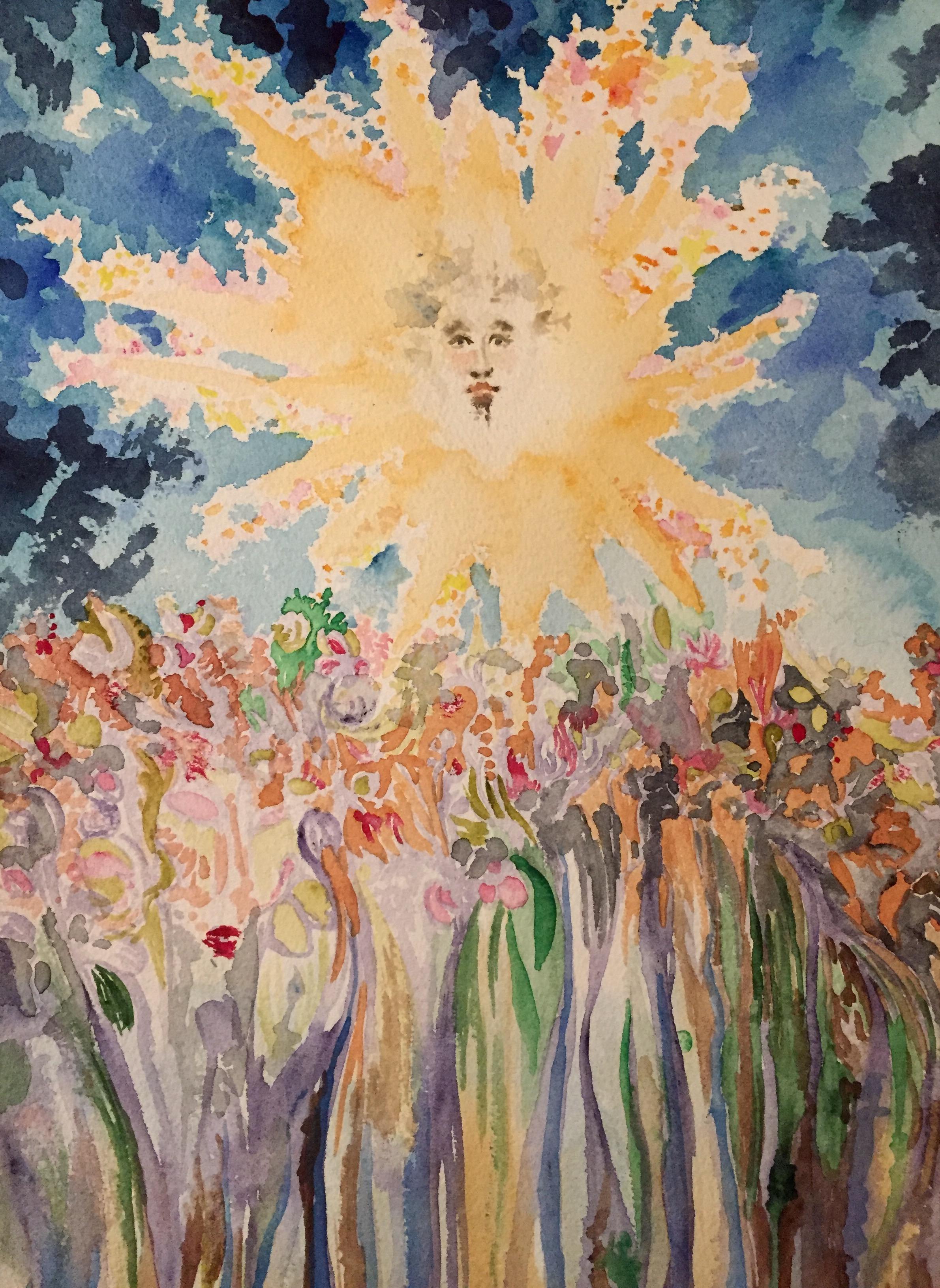 Sun, head of a man and flower field