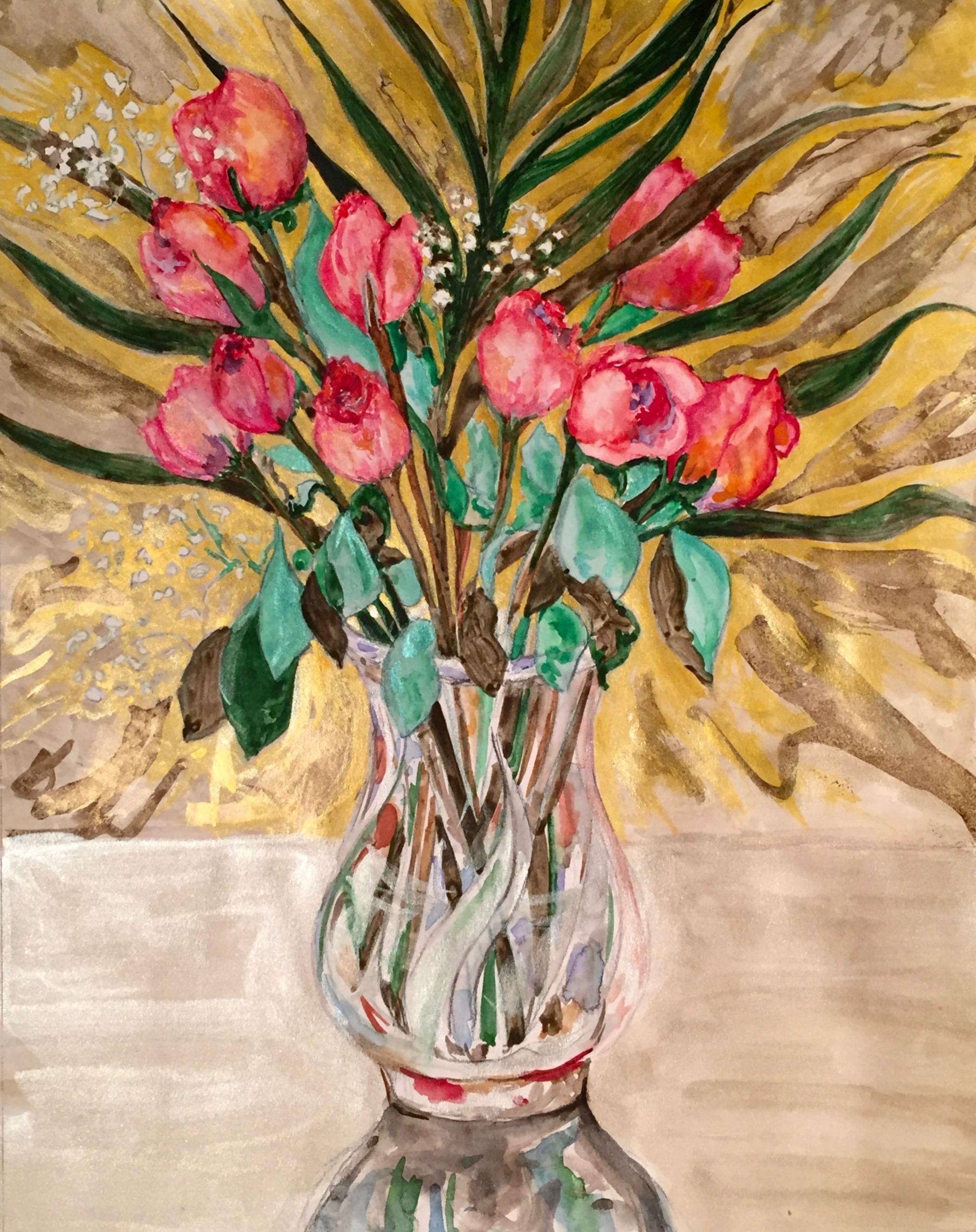 Pink roses in a crystal vase