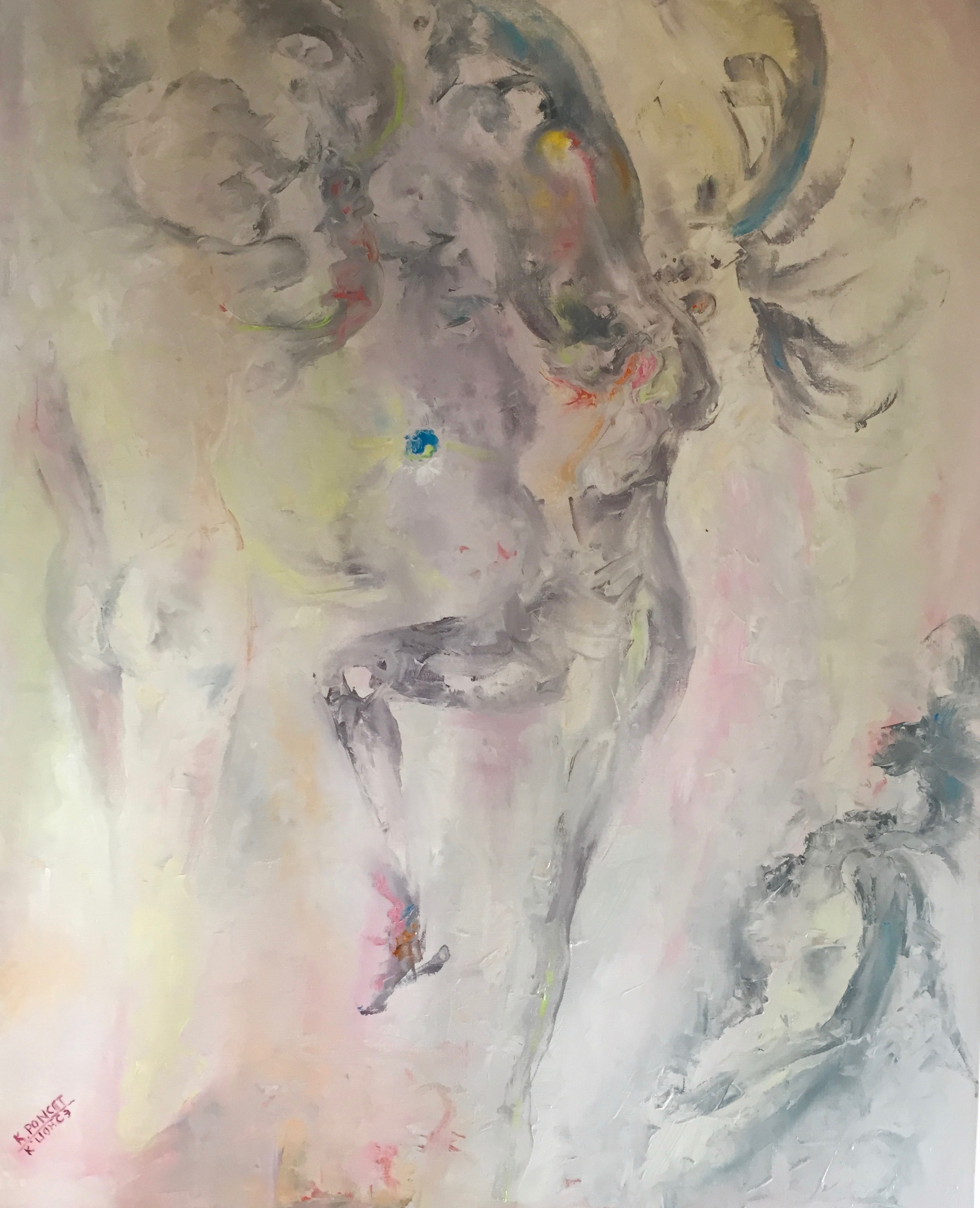 Semi-abstract oil painting representing a cloud