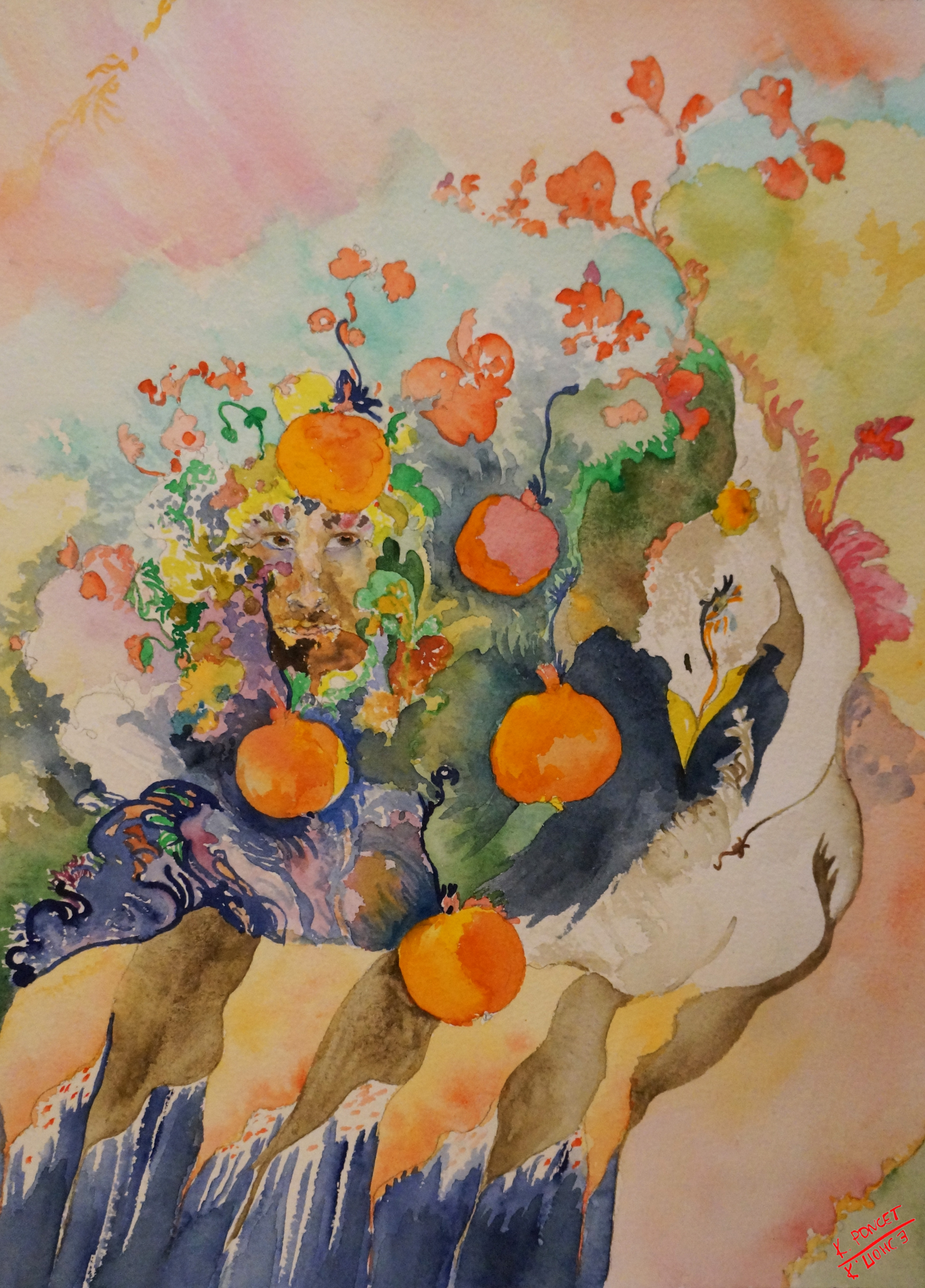 Composition with swan, human face, pomegranates and flowers
