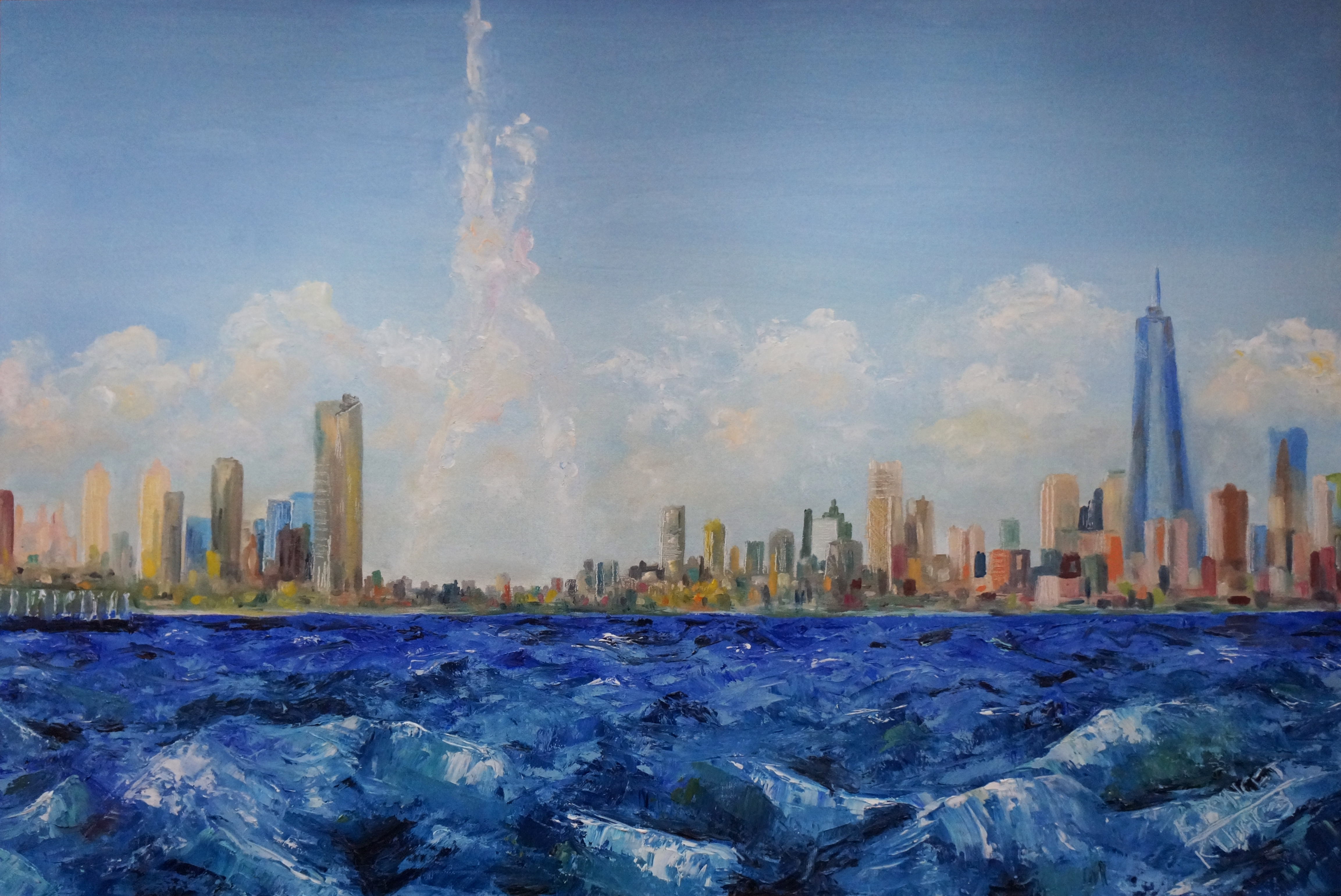 Contemporary oil painting representing a view of Manhattan from the sea with a cloud shaped as the statue of liberty.
