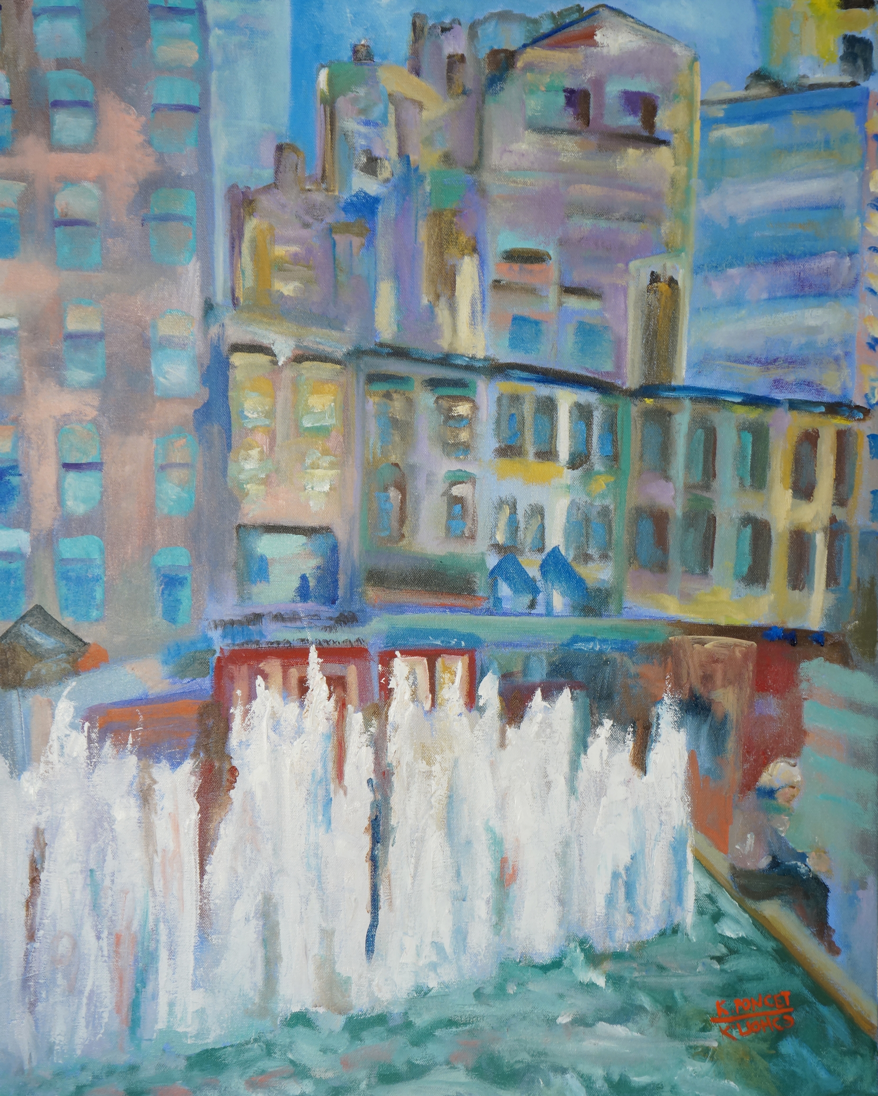 Contemporary oil painting representing the fountain on the 57th street and Lexington avenue in New York.