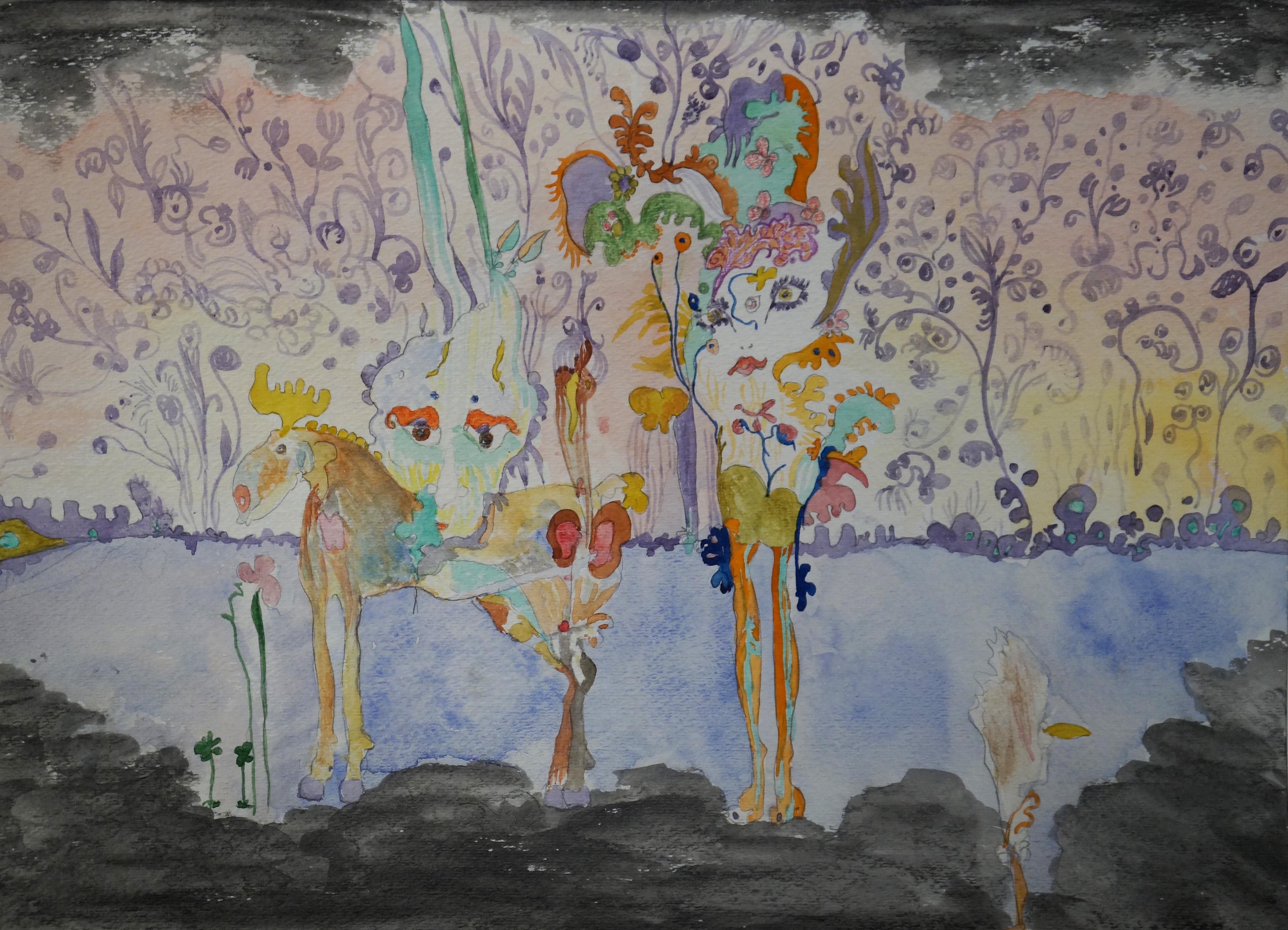 Surrealistic composition representing a couple