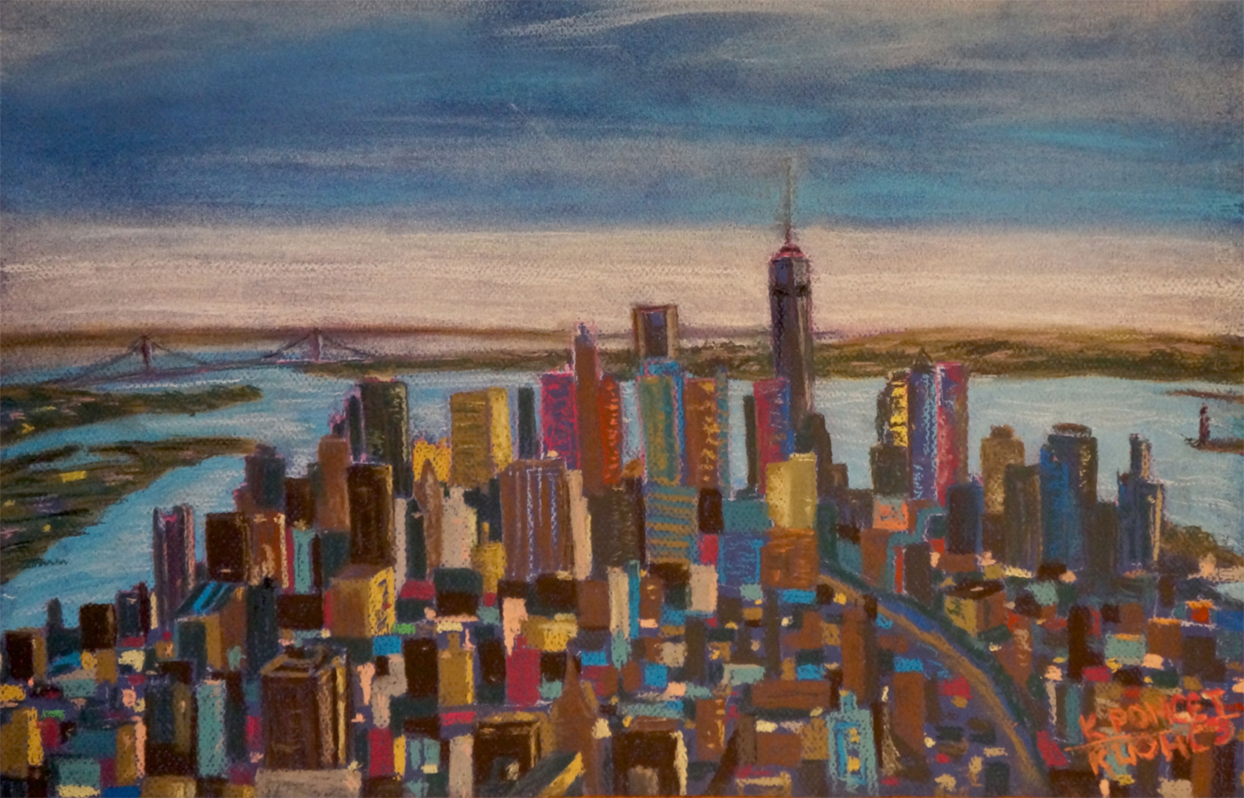 Manhattan downtown, view from a high-rise, pastel drawing