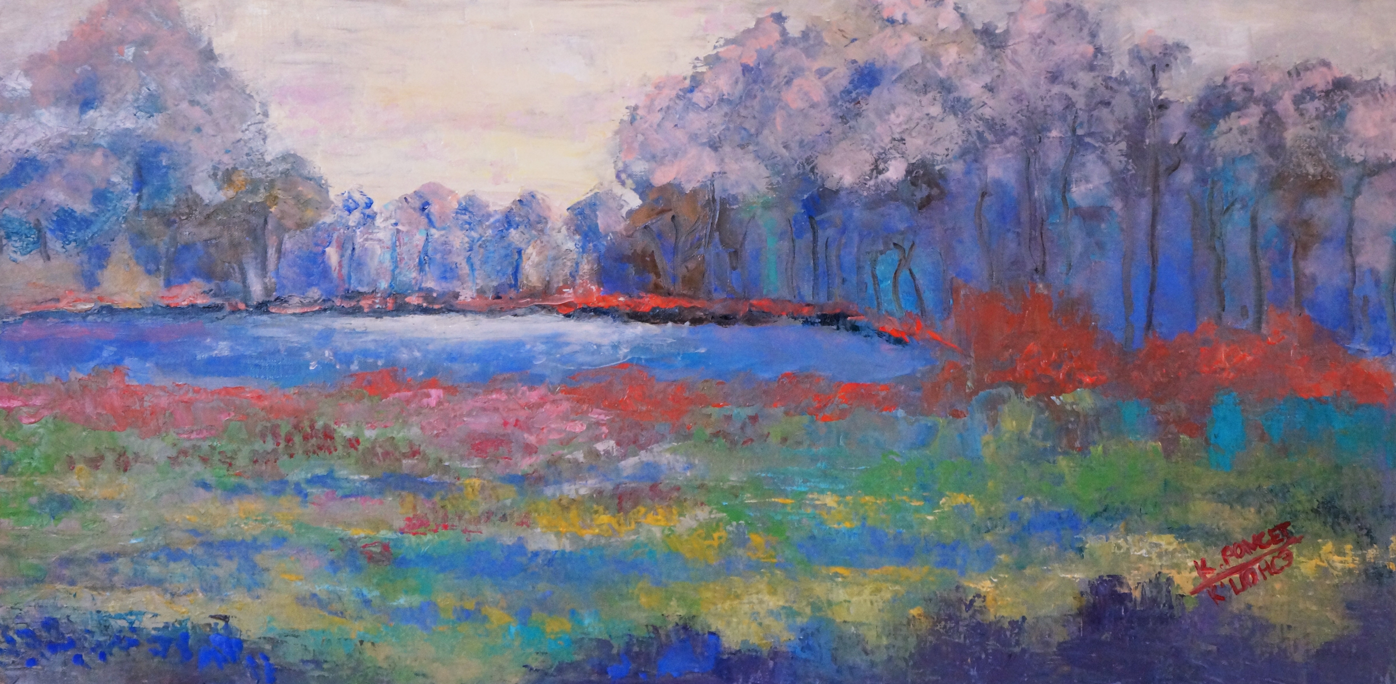 Oil painting depicting view of a pond in Central Park in New York in spring.