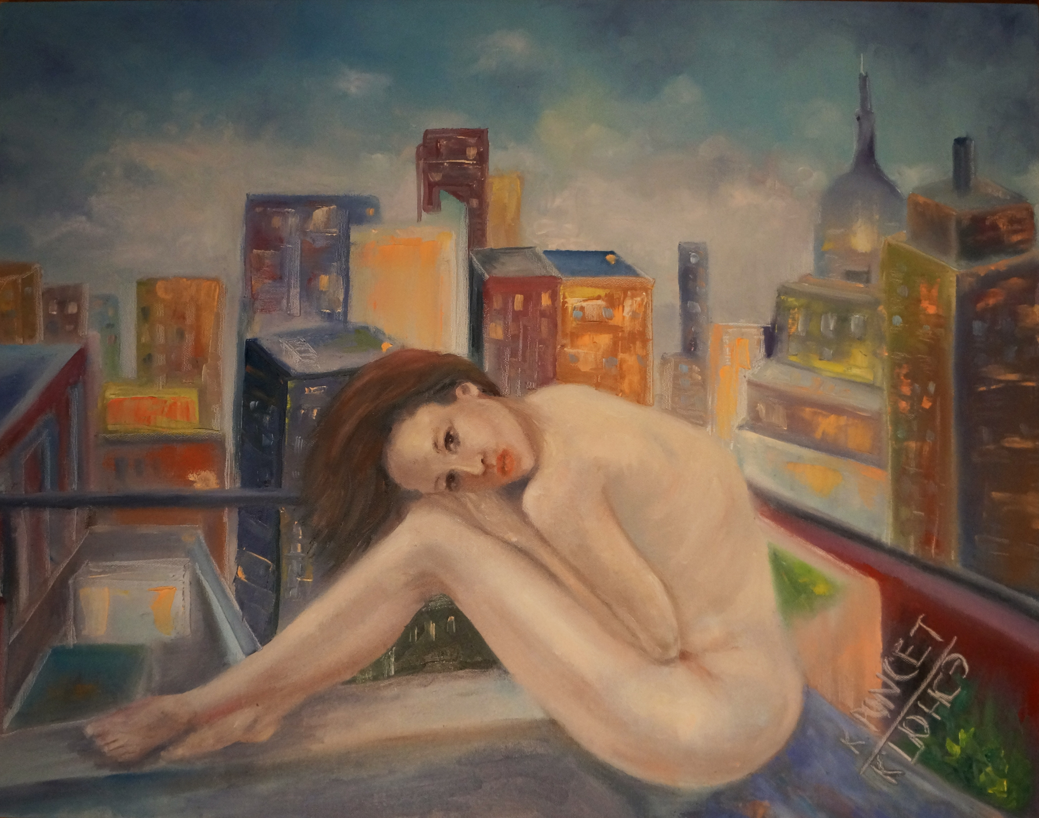 Oil painting of a girl sitting in a rooftop in Manhattan, New York.