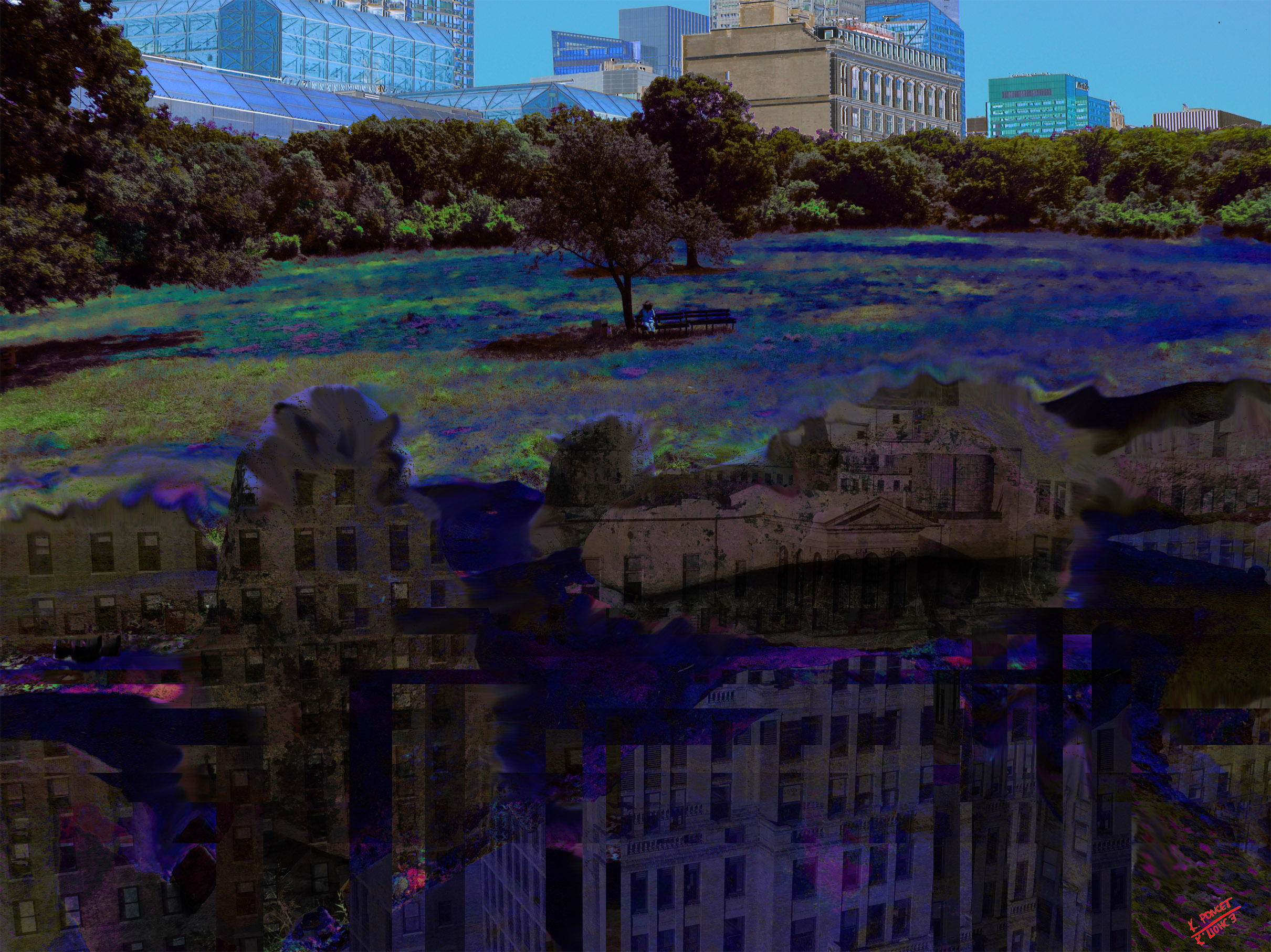 Photo collage presenting a big city from parallel universe