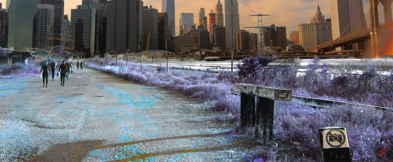 Photo collage showing Manhattan in parallel universe